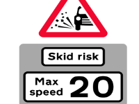 Skid Risk 20mph sign